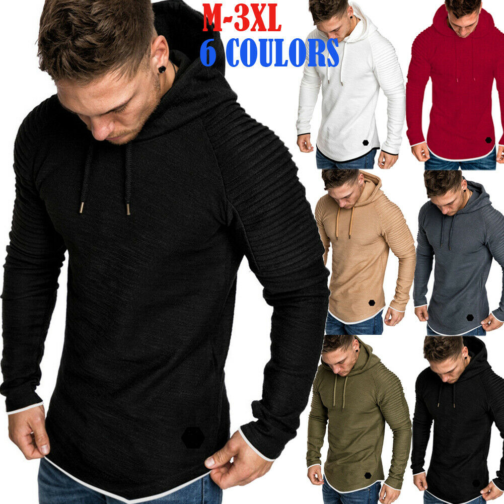 Mens Hooded Sweatshirt Sweater Jumper Pullover Outwear Jacket Coat Tops