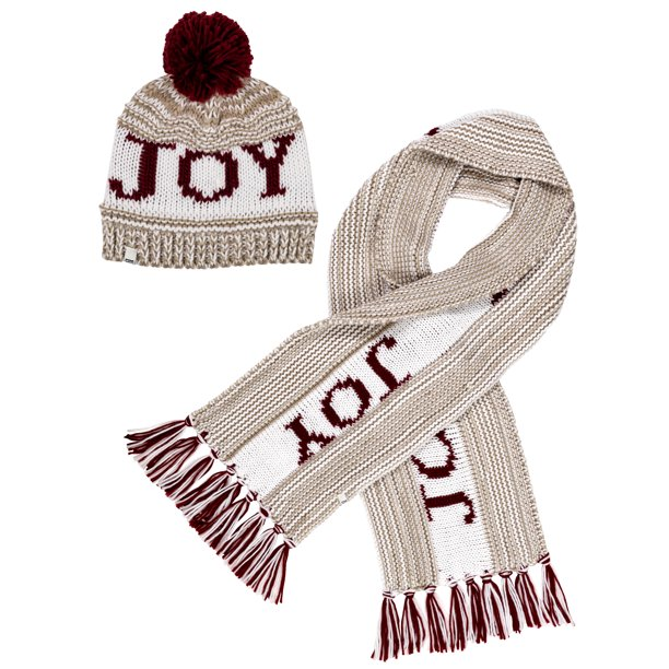 ED Ellen DeGeneres Ladies 2 Piece Heavy Chunky Knit Cold Weather Accessory Set with Pom Hat and Scarf