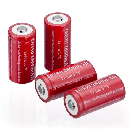 4-Pack 3.7V 2800mAh CR123A Battery 16340 Rechargeable Batteries For Torch Laser Camera