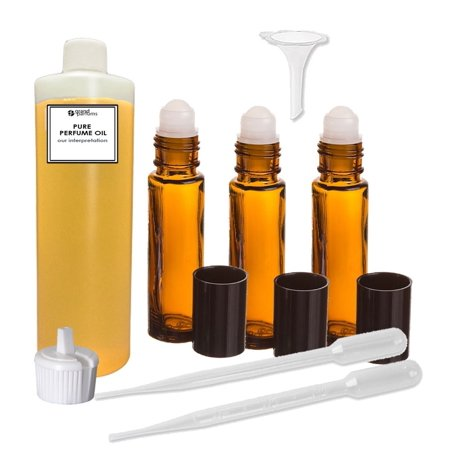 Grand Parfums Perfume Oil Set - Amber Ylang Ylang Type - Our Interpretation, with Roll On Bottles and Tools to Fill Them ( 2 oz)