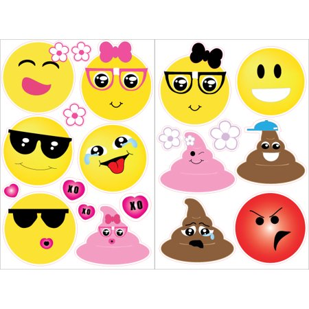 Emoji Wall Decals Stickers with Hearts and Flowers / Emoji Wall Decor and Party Decorations 4in - Party Wall Decorations