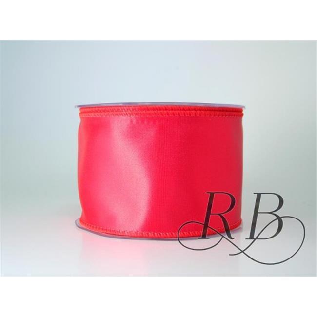 Ribbon Bazaar 4024 2.5 in. Wired Bridal Satin Ribbon, Signal Red - 10 Yards