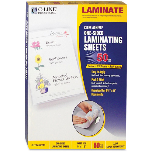 "C-Line Clear Adhere Laminating Film, 2 mil, 9"" x 12"", 50ct"