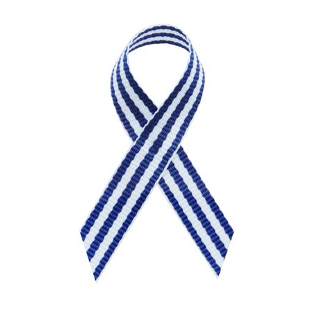USA Made Royal Blue Taffy Stripe Fabric Awareness Ribbons - Bag of 125 Fabric Ribbons w/ Safety Pins (Many Colors Available) (Pin Already Attached) Breast Cancer Awareness Fabric