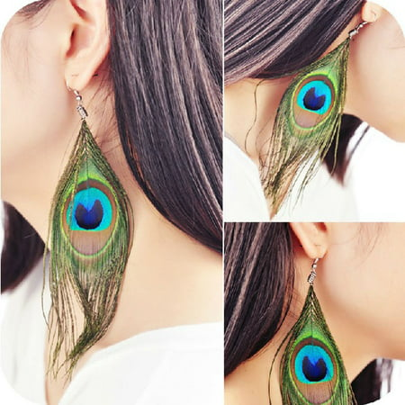 Lightweight Peacock Feather Dangle Earrings Eardrop