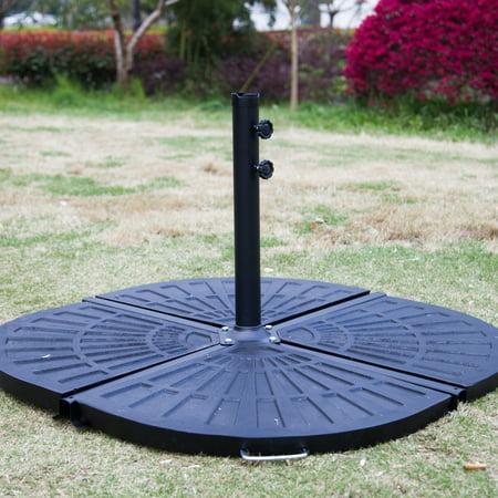 kinbor 4pcs patio umbrella base stand fan shape vintage finish outdoor table pole resin. Black Bedroom Furniture Sets. Home Design Ideas