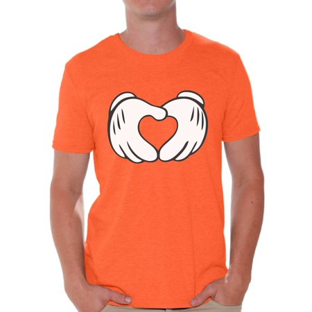 Awkward Styles Cartoon Hands Heart Shirt for Men Valentine Heart Men's T Shirt Cute Valentine Heart Tshirt Valentine's Day Love Gift Idea for Him Heart Shape Valentines Day Shirt (Cartoon T Shirt Men)