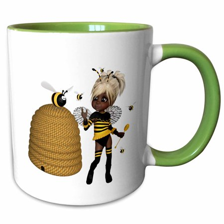 Africa Honey (3dRose African American Bumble Bee Fairy and Honey Pot Floral - Two Tone Green Mug, 11-ounce)