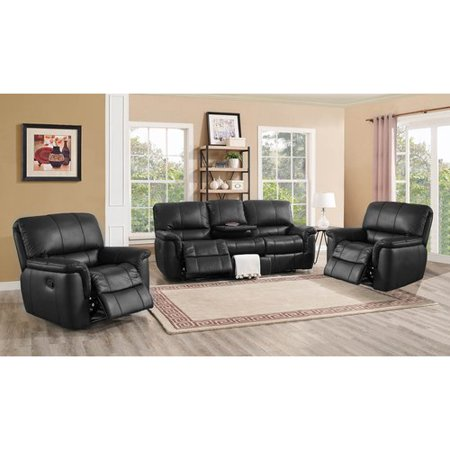 averill 3 piece black leather reclining living room set