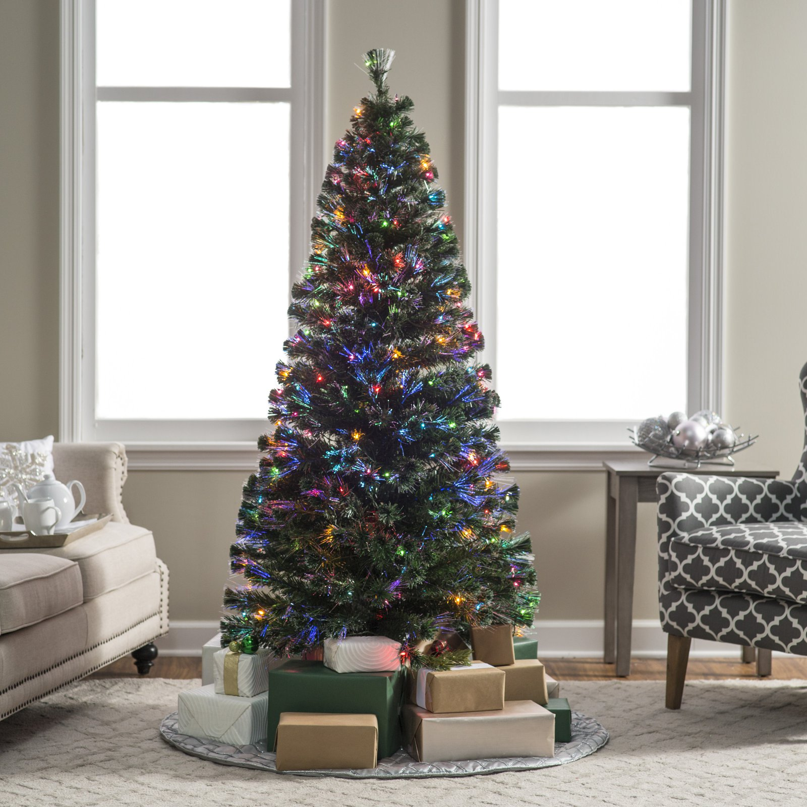 """National Tree Pre-Lit 72"""" Fiber Optic """"Evergreen"""" Artificial Christmas Tree with 200 Multi Lights in a 16"""" Stand"""