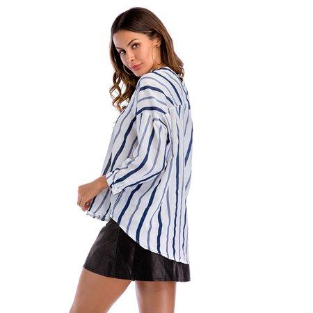 Yosoo Femmes à la mode bleu blanc rayé à manches longues col en v chemisier occasionnel lâche chemises, chemisier à col en v, chemisier à rayures - image 8 de 8
