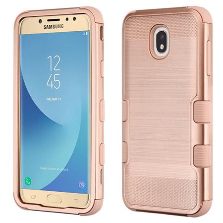 Samsung Galaxy J7 (2018), J737, J7 V 2nd Gen, J7 Refine Phone Case Tuff Hybrid Shockproof Impact Rubber Dual Layer Hard Soft Protective Hard Case Cover Brushed Textured Rose Gold Phone Case