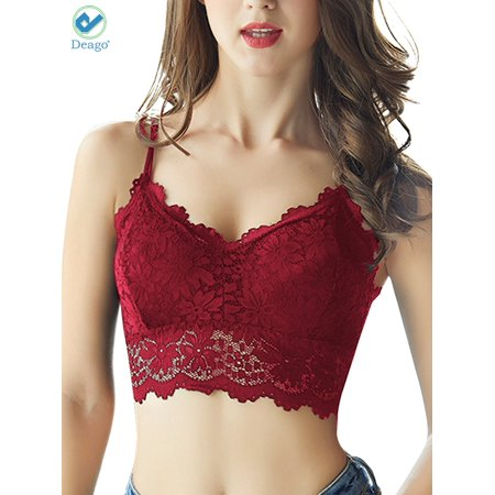 Deago Women's Lace Padded Bralette Bra Top Floral Stretch Wirefree Lingerie Sexy Bras (L,Red) Lace Bra Pad