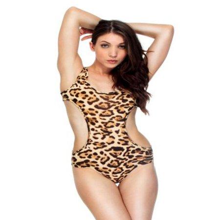 Simplicity Trendy Swimsuit In Monokini Style Stretch, BN Leopard, L - Trendy Monokini