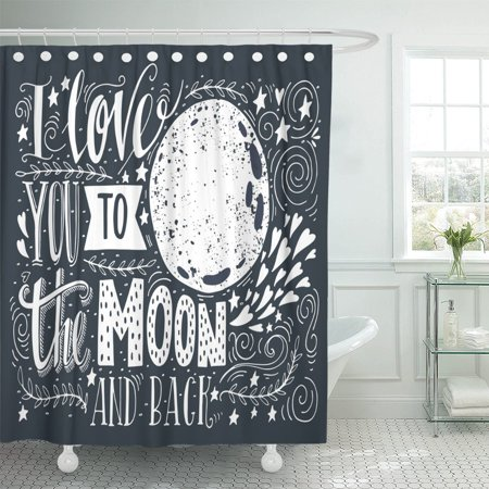 PKNMT I Love You To The Moon And Back Romantic Shower Curtain 60x72 Inches
