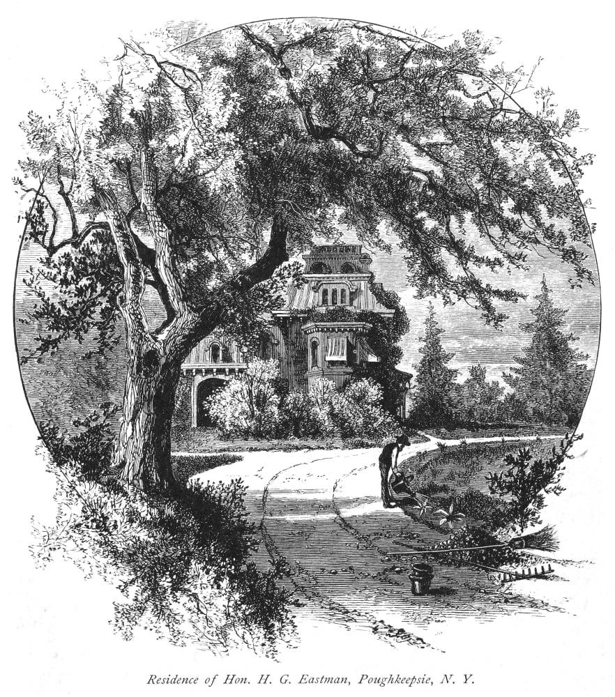 poughkeepsie house  nresidence   honorable hg eastman poughkeepsie ny wood engraving