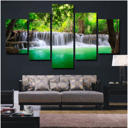 5 Pieces Unframed Large Modern Abstract Art HD Waterfall Canvas Wall Decor Painting Require A