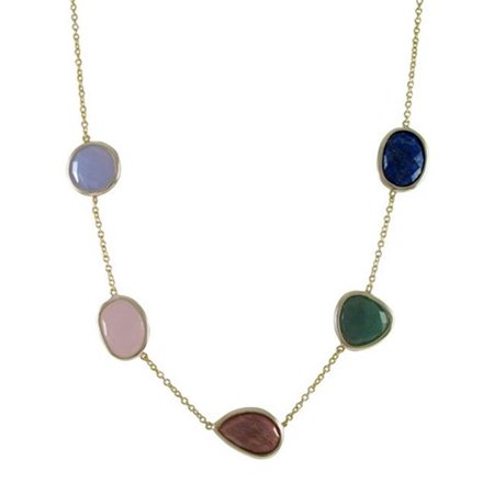 Gold Plated Sterling Silver Five Flat Faceted Multi Color Semi Precious Stones Necklace, 18 in.