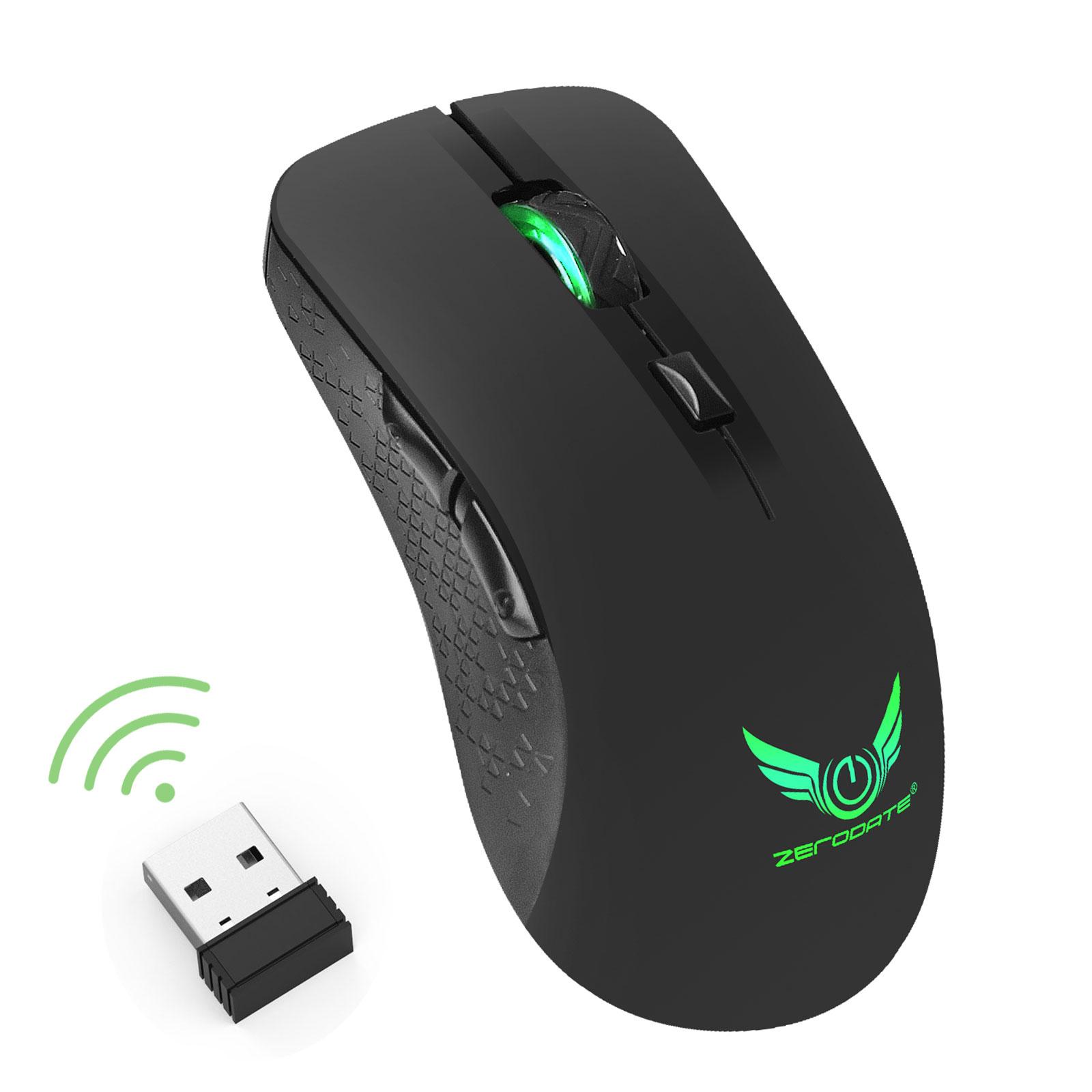 Gaming Mouse with RGB LED Lighting, 2.4G Wireless Game Mice for Computer/ PC/ Laptop/ Mac Book with 2400 DPI Optical Gaming Sensor, Ergonomic Design with 6 Buttons
