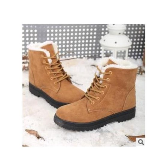 Women s Ladies Flat Lace Up Fur Lined Winter Boots Snow Ankle Boots ... d0114d40ea