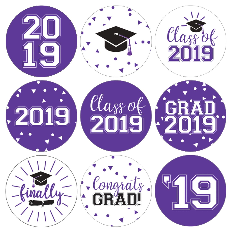 Purple Graduation Party Stickers   216ct   Class of 2019 Favor Labels