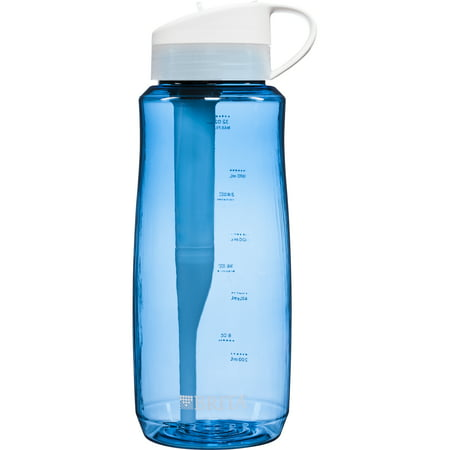 Brita Large Hard Sided Water Bottle with 1 Filter - BPA Free - Blue - 34 Ounce