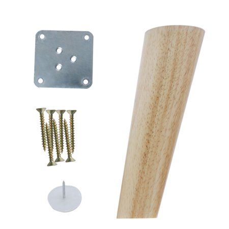 6 Inch Round Wood Furniture Legs Sofa Cabinet Oblique Feet Replacement Height Adjuster, Wood Color