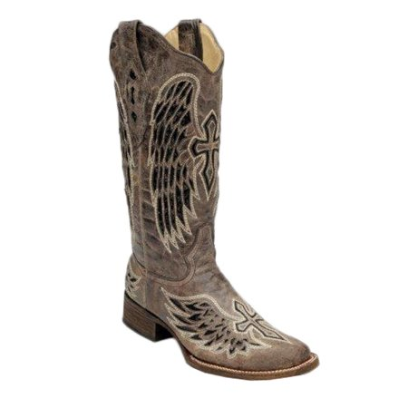 Womens Corral Brown Wing & Cross Sequence Boots 7, Brown,Black (Corral Boots Women Cross)