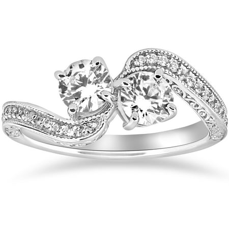 1 Ct Two Stone Forever Us Vintage Diamond Engagement Ring 14K White Gold