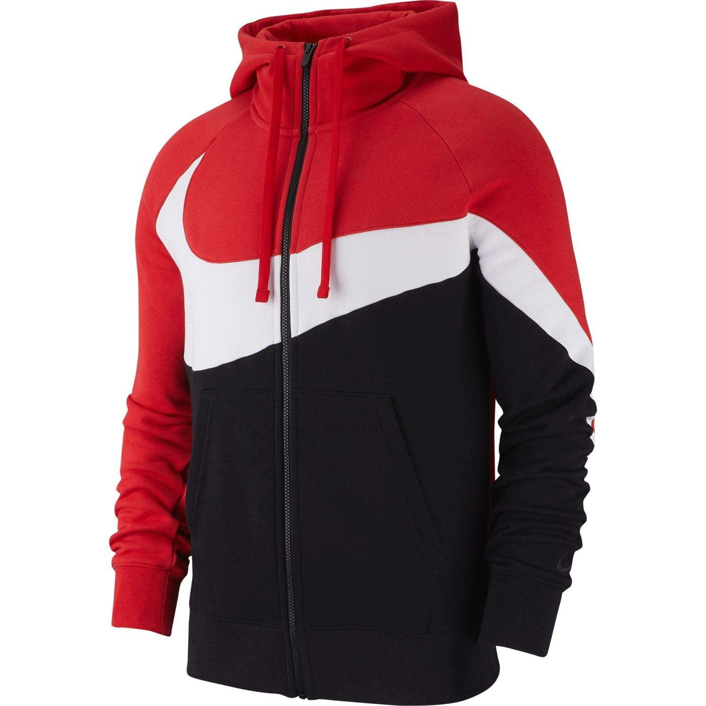 Nike - Nike Mens HBR Large Swoosh Full Zip Hoodie Sweatshirt - Walmart.com
