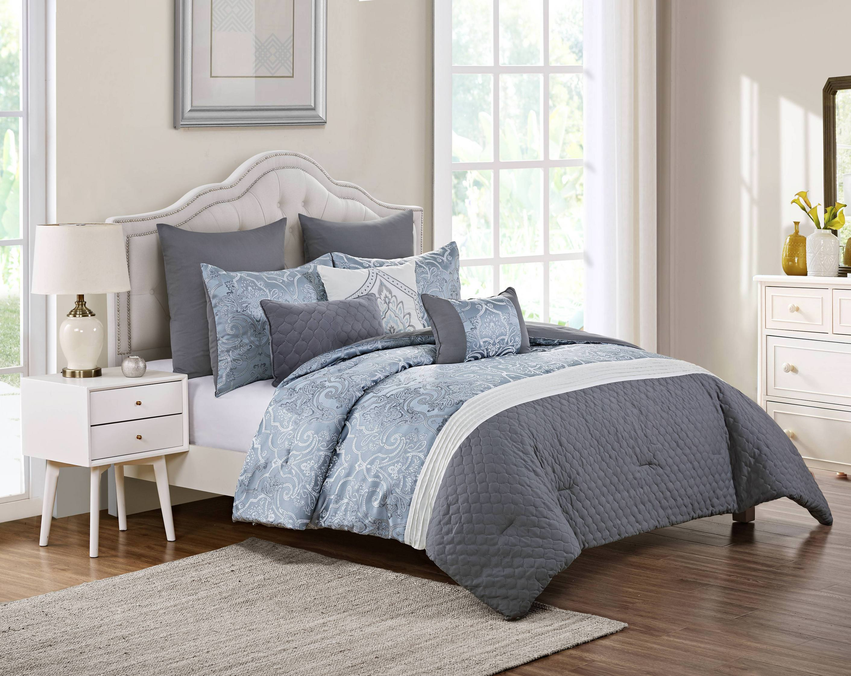 VCNY Home Waveland 8 Piece Woven Jacquard Comforter Set, Shams Available,  Multiple Sizes