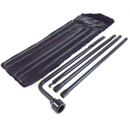 Spare Tire Tool Kit with Case for 1999-2018 Compatible with Chevy Silverado 1500 & GMC Sierra 1500; Tire Iron Lug Wrench, 4 piece Tool Kit to Lower Spare Tire (1999-2019 2500 HD and 3500 HD) ()