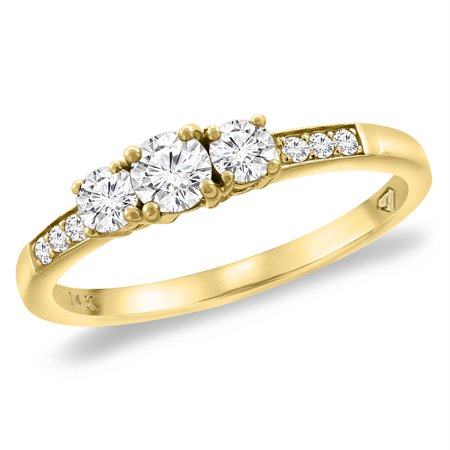 14K Yellow Gold Genuine Diamond 3-stone Engagement Ring 0.46 cttw., size 8