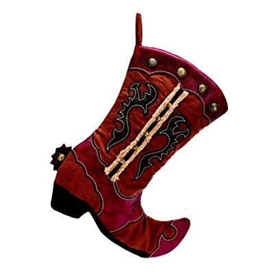 Burton and burton cowboy boot christmas stocking, red