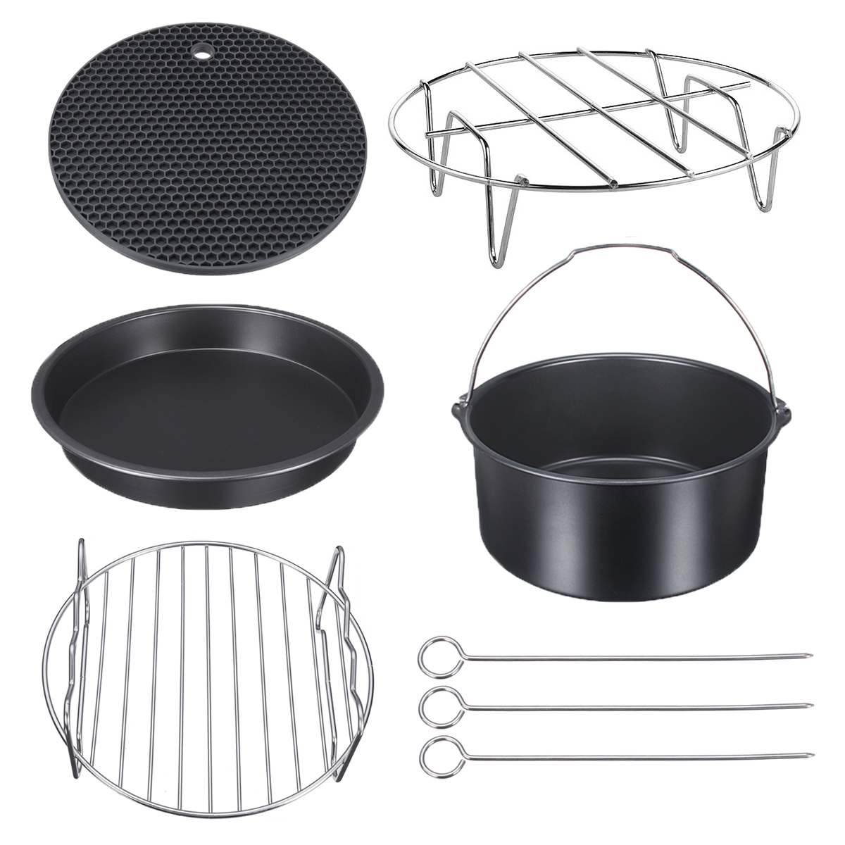 8Pcs Air Fryer Accessories Set Baking Basket Grill Pot Mat Pizza Pan Plate Or Single Double Layer Skewers... by