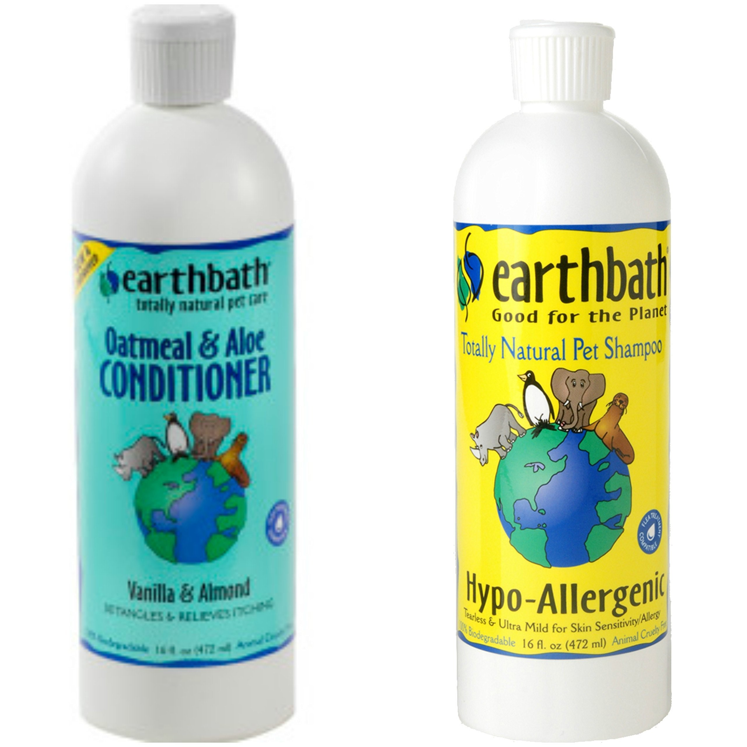 Earthbath Hypo-Allergenic Tearless Shampoo for Dogs and Cats 16 oz and Earthbath Oatmeal and Aloe Conditioner for Dogs and Cats Vanilla Scent16 oz