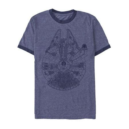 Star Wars Men's Millennium Falcon Outline Heather Royal Blue/Navy Ringer T-Shirt Blue Kids Ringer T-shirt