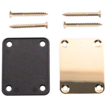 Guitar Neck Ferrules - Seismic Audio Gold Replacement 4 Bolt Neck Plate for Fender Strat, Tele and Electric Guitars Gold - SAGA04