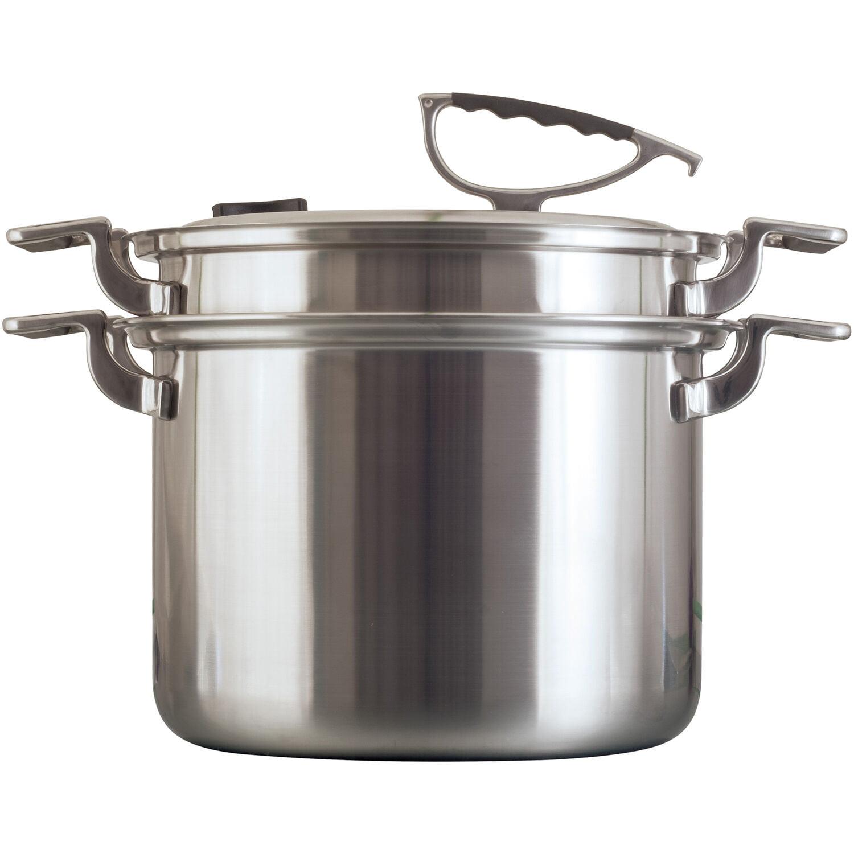 Cookcraft Original 8 Qt Tri Ply Stainless Steel Stock Pot Strainer Steamer Set Silicone Handles Convenient Lid W Patented Rim Latch Walmart Com Walmart Com
