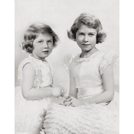 Queen Elizabeth Ii Right As A Princess Circa 1937 And Princess Margaret Left From The Coronation Of Their Majesties King George Vi And Queen Elizabeth Official Souvenir Programme Published 1937 Canvas