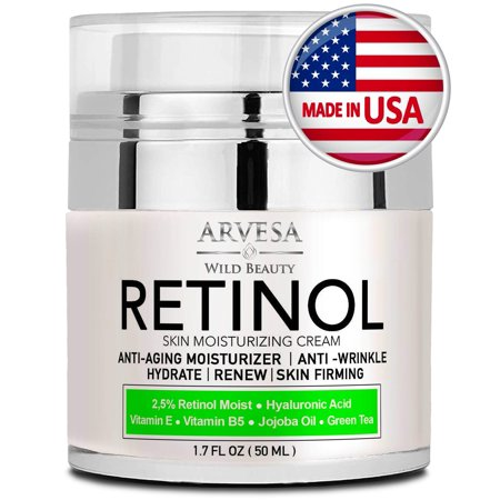 Natural Retinol Moisturizer Cream for Face and Eye Area - Made in USA - with Hyaluronic Acid - Active Retinol 2.5% - Anti Aging Face Cream to Reduce Wrinkles & Fine Lines - Best Day an