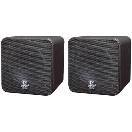 Pyle Home PCB4BK 4″ 200W Mini-Cube Bookshelf Speakers, Black