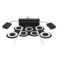 Portable Digital Mono Electronic Drum Set Kit 7 Silicon Pads Built-in Speaker USB Powered with Drumsticks Foot Pedals 3.5mm Audio Cable for Practice Beginners Kids