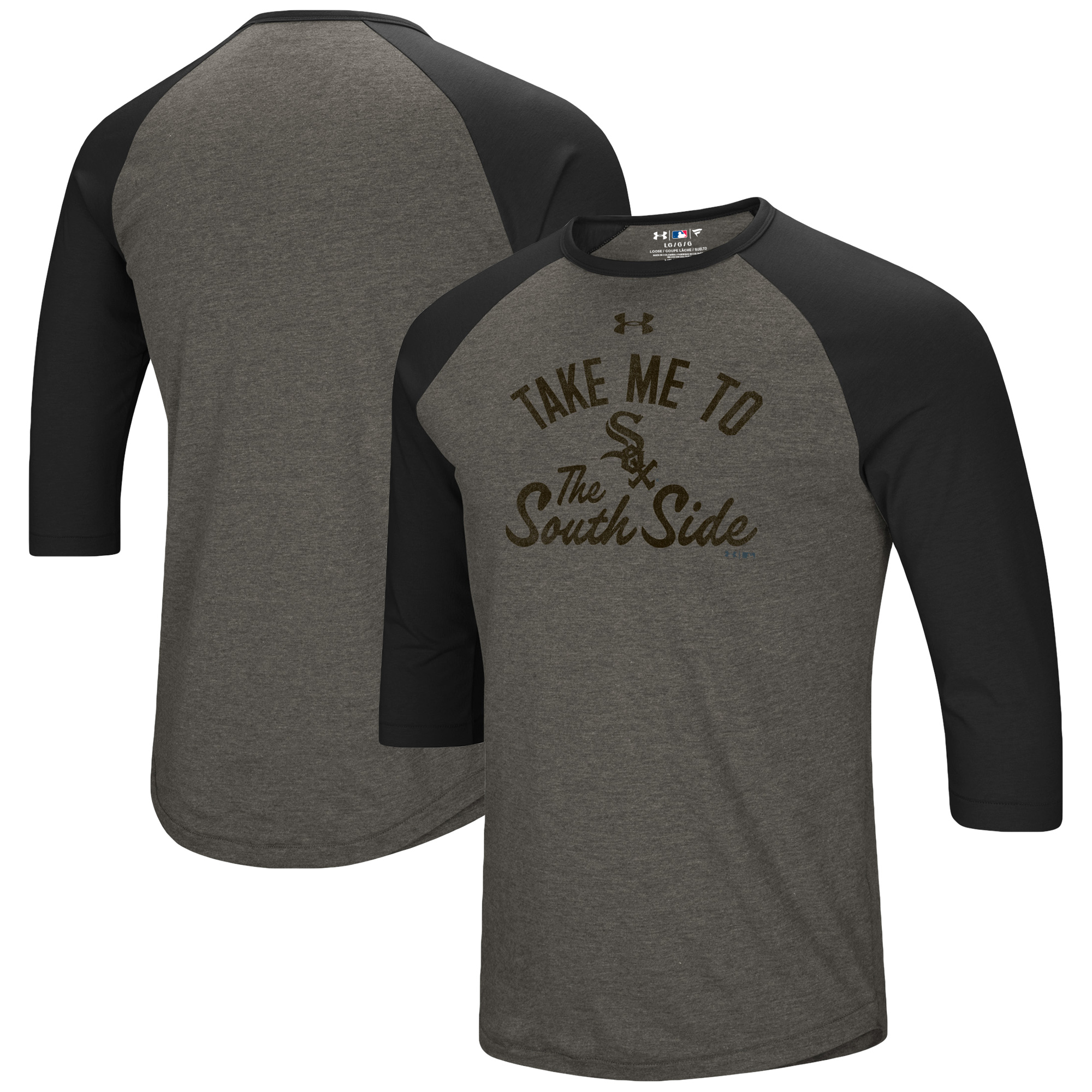 Chicago White Sox Under Armour Heritage Performance Tri-Blend Raglan 3/4-Sleeve T-Shirt - Heathered Gray/Black