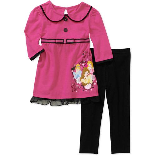 Disney Baby Girls' 2 Piece Princess Collar Tunic and Legging Set