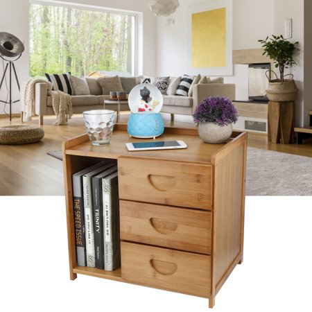 LYUMO Bedside Table Modern Mini Bamboo Nightstand Side Tables with 3 Drawers Bedroom Accessory