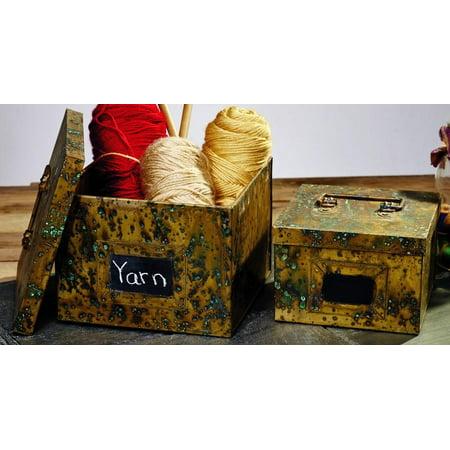 Antique Primitive Vintage Brass Gold Color Finish Metal Storage Boxes With Chalk Writing Area - Set Of 2 - Organizer Tin Decor Yarn Shelf Decor