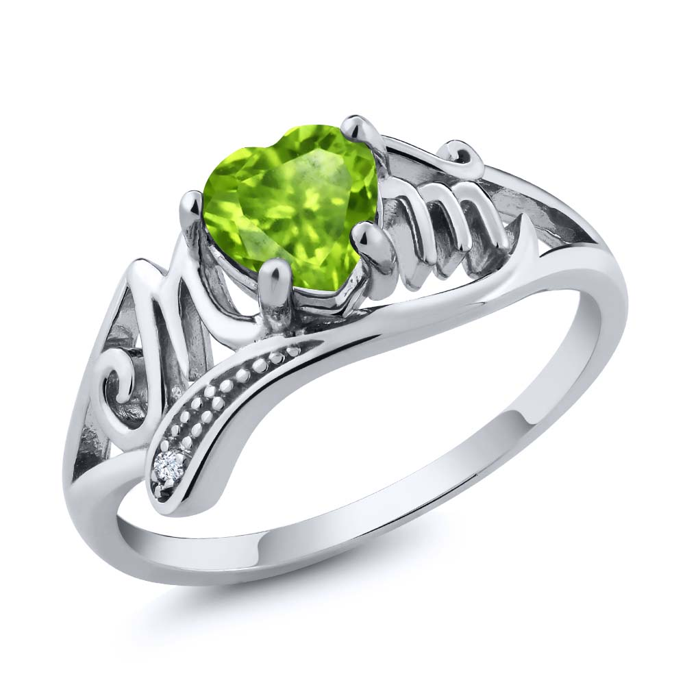 0.52 Ct Heart Shape Green Peridot 925 Sterling Silver Mom Ring by