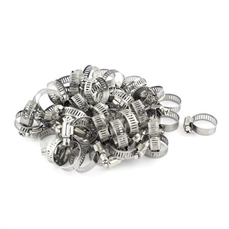 Release Worm (50 Pcs Bolt Release 16mm to 25mm Worm Drive Hose Clamps Pipe Hoop)