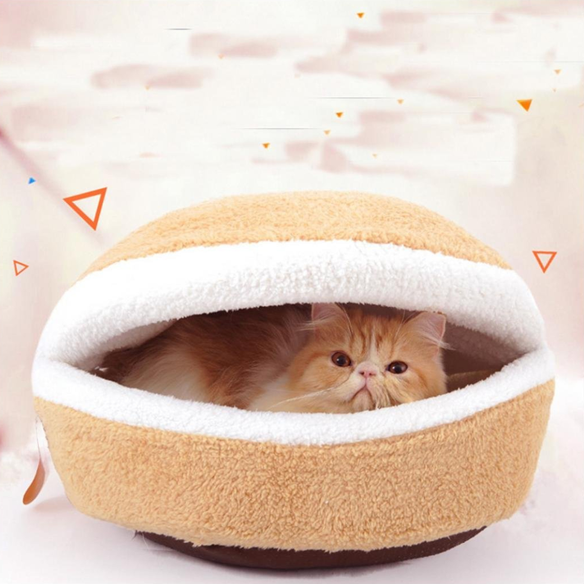 Flannel Cute Pet Cat Orthopedic Oval Hamburger Bed Kennel Pet Warm Winter Sleeping Bed Cushion House Cave Nest Warmer Mat